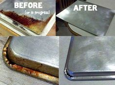 """How to clean your cookie sheets--Kitchen """"Miracle"""" Cleaner! You put about 1/4 cup of baking soda in a small glass bowl and squirt in hydrogen peroxide until it makes a nice paste. Then you rub it on the offending dirt/stain/grease...whatever! You can usually just use your fingers...but you can also use a small sponge as well."""
