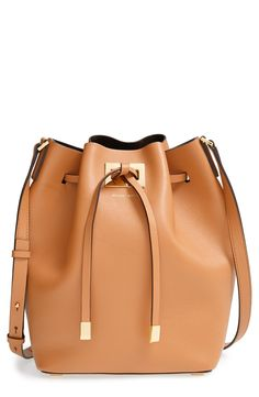 Michael Kors 'Large Miranda' Leather Bucket Bag at Metal-tipped ties cinch a buttery-soft leather bucket bag that strikes the perfect balance between relaxed and refined. Boutique Michael Kors, Outlet Michael Kors, Sac Michael Kors, Cheap Michael Kors, Handbags Michael Kors, Mk Handbags, Designer Handbags, Fashion Handbags, Handbag Stores
