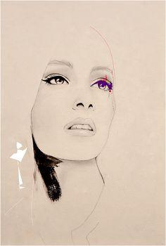 Vor der Show Fashion Illustration Kunstdruck von LeighViner