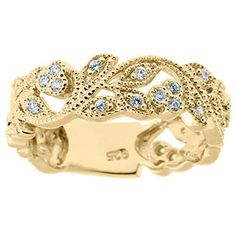 Flower .35 CT TW Diamond Ring In Yellow Gold Available Exclusively at Gemologica.com