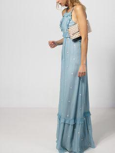 Maxi vestido estrellas metalizadas  #VEX.4986.480  298,00 €