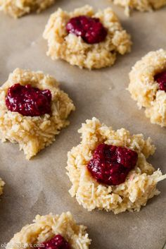 Coconut Macaroon Thumbprints with Raspberry Chia Seed Jam (Vegan, gluten-free, oil-free, grain-free, soy-free)