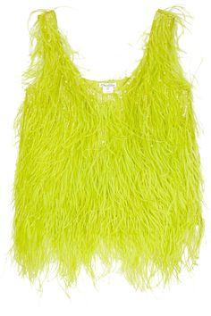 Oscar De La Renta Feathered Silk Top in Chartreuse