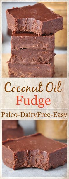 Paleo Coconut Oil Fudge- 5 ingredients and 5 minutes is all that is need for this delicious fudge! Dairy free, vegan, gluten free and so good! Paleo Sweets, Gluten Free Desserts, Healthy Desserts, Gluten Free Baking, Paleo Dessert, Dessert Recipes, Coconut Oil Fudge, Coconut Oil Chocolate, Buy Coconut Oil