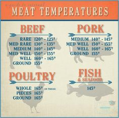 Meat Temperature Chart. Printed this and put it on fridge! Also, lots of good information about food safety.