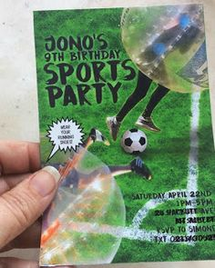 Bumper Ball Sports Party Invitation available on my Etsy Shop Soccer Birthday Parties, Soccer Party, Sports Party, 8th Birthday, Bubble Soccer, Party Invitations, Bubbles, Etsy Shop, Christmas Ornaments