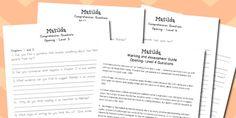 Matilda Levelled Comprehension Worksheets - australia, matilda