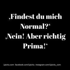 'Findest du mich Normal?' 'Nein! Aber richtig Prima!'