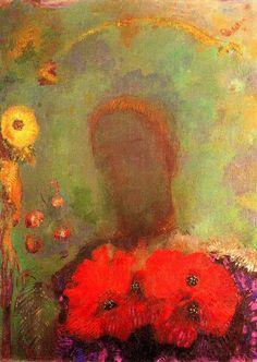 Girl with corn poppies Odilon Redon