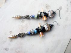 SALE Beaded Earrings Shells Glass Wire by shipwreckdandy on Etsy