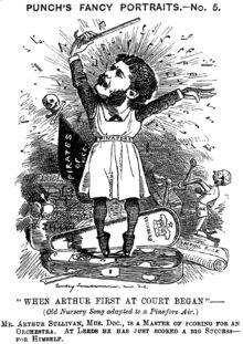 Punch cartoon mocking Sullivan for his focus on comic opera