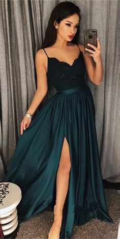 Dark-Green Spaghetti-Straps 2018 Prom Dress | Lace Evening Gowns With Slit From 27dress.com