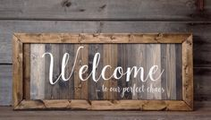 Welcome to our perfect chaos Family sign farmhouse wall Diy Wood Projects, Wood Crafts, Country Wood Signs, Diy Porch, Christmas Signs Wood, Frame Crafts, Home Decor Signs, Pallet Signs, Family Signs