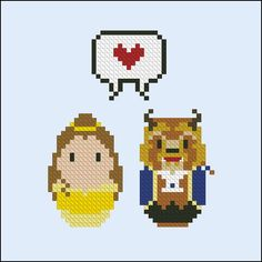 Beauty and the Beast - Belle and the Beast - Mini People in Love - Mini People - Cross Stitch Patterns - Products