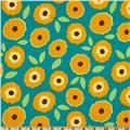 Madeline Flannel Daisy Nature Teal - Discount Designer Fabric - Fabric.com