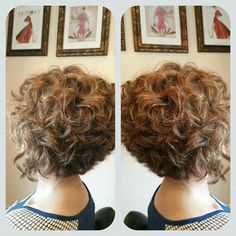 Natural curl, natural color. Client age 62, had long hair. Cut to this inverted bob.  Pink Salon of Houston.