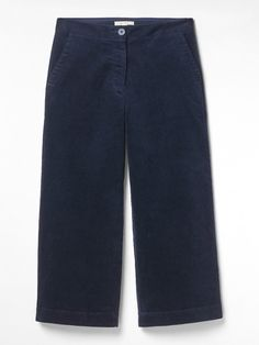 Hello stylish new trews! Our Arne cord wide leg crop trousers are ideal for bridging the seasons. Featuring a zip fly and four pockets, wear these trousers now with a shirt and loafers, then switch to a knit and boots when the temperature drops. Dark Navy, Navy And White, Project 333, Striped Jersey, White Stuff, Cropped Trousers, Pink Stripes, Chelsea Boots, Wide Leg