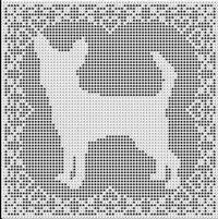 Filet Crochet Patterns - Dogs - Chihuahua Dog FILET CROCHET PATTERN Free Shipping
