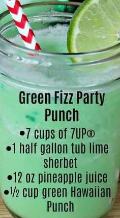 Fizz Party Punch Green Fizz Party Punch ~ Quick, easy to make and the taste is amazing.Green Fizz Party Punch ~ Quick, easy to make and the taste is amazing. Christmas Punch, Christmas Drinks, Holiday Drinks, Halloween Alcoholic Drinks, Alcoholic Beverages, Holiday Punch, Non Alcoholic Drinks Green, Halloween Party Drinks, Christmas Party Food