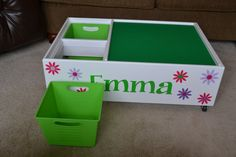 Personalized roll around lego table $190 on Etsy
