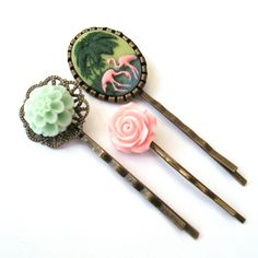 Pink Flamingo Bobby Pin Set by TemporalFlux on Etsy