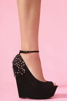 Gunmetal Spike Platform Wedge