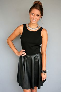 Backless Leather Skater Dress, on www.rosietrue.com, $186