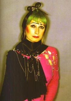 Zandra Rhodes - a textile/fashion designer that loved prints! Her designs were considered clear, creative statements, dramatic but graceful, bold but feminine.  She really helped put London on the forefront of fashion