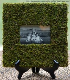 Moss Frames tutorial So many uses: garden party menu, outdoor wedding table numbers, etc. Perhaps over the digital frames on the guestbook table? Outdoor Wedding Tables, Wedding Table Numbers, Guest Book Table, Cat Crafts, Cover Pics, Home Decor Furniture, French Country, Picture Frames, Garden Sculpture