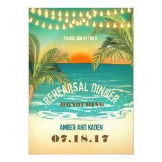 Beach Sunset Rehearsal Dinner Card