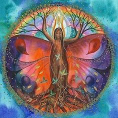 Mother Mary ~ Earth is Now Going into a New Era of Love and Light Mother Mary Monday, February 2018 Channel: Ann Dahlberg I am Mother Mary and I wa(. Tree Of Life Art, Tree Art, Mandala Art, Arte Inspo, Spirited Art, Goddess Art, Visionary Art, Sacred Art, Psychedelic Art