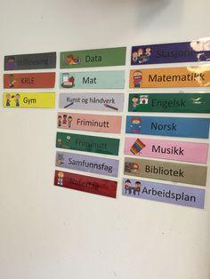 Dagsplan klar til bruk. Sætre skole i Hurum. My Job, Social Security, School Design, Games For Kids, Montessori, Classroom, Gym, Activities, Education