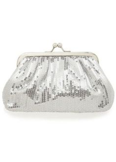 David's Bridal All Over Sequin Kisslock Clutch Style SQ256 $24.50