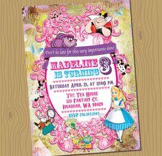 ALICE IN WONDERLAND Custom Birthday Invitation Digital File You