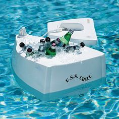 USS Chill Floating Cooler another great item from Frontgate. Floating Cooler, Beverage Tub, Hanging Beds, Boat Lift, Pool Floats, Water Toys, Luxury Home Decor, Cool Pools, Novelty Gifts