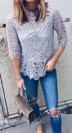 Day Outfit | Grey lace top, Blue jeans, Grey ballet flats