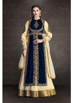 couleur bleu marine en velours avec georgette faux costume Anarkali, - 119,00 €, #Robepakistanaisepascher #Salwarkameezfemme #Robepakistanaise #Shopkund