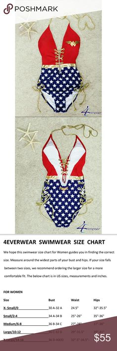 """WONDER WOMAN LACE UP BACKLESS MONOKINI WhocanresistthisWonderWoman Lace UpBacklessMonokini, ithasitall!!This curve contouring backless onepiecehas adeepVplunge, adjustable hollow outgold lasso tiesthat laceup inthefrontandsides,gold accenteyeletsand utilitybelt. The redbodyhasthegoldmetallic """"WW"""" logo,goldnecktiesand removable padding. The blue bottom hasstarsandthe """"WW"""" emblem ontheback.Thisdazzling swimwear 4Ever exudes strength…"""