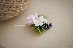 Handmade floral hair comb, Roses haircomb, Jasmine and Rose, Pink rose hair accessories, Black currant berries, Hairstyle,