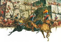 """La Pintura y la Guerra """"The Spanish charge before the walls of Fortress Arequipa. Lieutenant Centeño (with the white scarf over his mouth) is on his ride of death"""""""