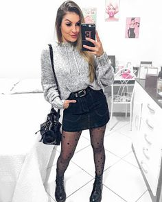 Discover recipes, home ideas, style inspiration and other ideas to try. Winter Fashion Outfits, Fall Outfits, Autumn Fashion, Casual Outfits, Cute Outfits, Girl Fashion, Fashion Looks, Womens Fashion, Denim Skirt Outfits