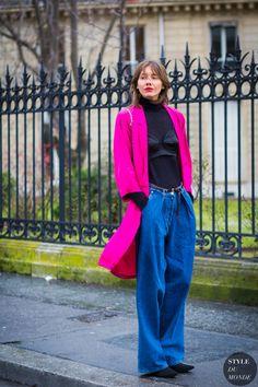 Lingerie In Street Style. Fabulous black silk long line bra over polar-neck on Julie Pelipas