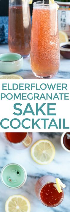 A Sparkling Elderflower Sake Cocktail is a bubbly and bright sipper to help you begin the transition from winter to spring. The smooth elderflower notes play off the subtle sweetness in the sake, and the entire cocktail finishes with a bright burst of pomegranate and citrus to tickle your taste buds.