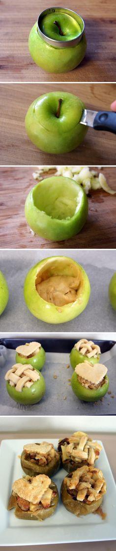 Cake Baked in Fresh Apples #vege food and recips #pszenic