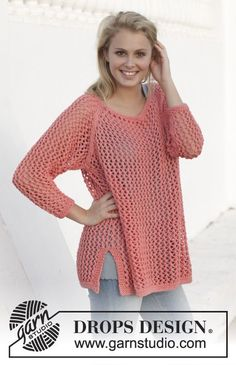 "Knitted DROPS jumper with lace pattern, worked top down in ""Paris"". Size: S - XXXL. ~ DROPS Design"