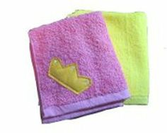 """Princess Washcloth Set by Yikes Twins. $14.00. Theme: Princes & princesses. Primary Color: Pink,Yellow. Usually ships in 5-7 business days14"""" x 13""""This precious Princess Washcloth Set is a perfect accessory for bath time. Each washcloth set comes with two uniquely themed washcloths. The first washcloth of the set is a pink washclothwitha felt tiara and sewn-in 'jewels.' The washcloth also features a ribbon tab for hanging when wet. The second washcloth in the set is roy..."""