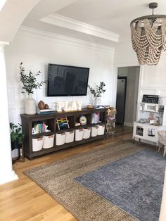Family room design – Home Decor Interior Designs Family Room Playroom, Loft Playroom, Playroom Storage, Dining Room Playroom Combo, Living Room Toy Storage, Modern Playroom, Playroom Decor, Playroom Ideas, Kids Room