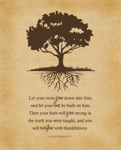 Colossians 2:7-Love this verse! Taught this in Sunday school all last Spring. The visual is great.