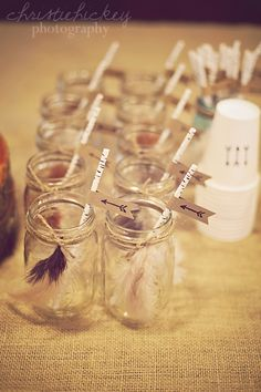 Little Brave Man party, glass mason jars, paper straws, hand stamped, straw flags hand stamped arrows