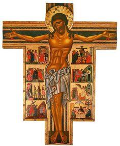 Maestro della Croce n. 434 degli Uffizi (FI, 1230-1260 ca) - Cristo in Croce e otto storie della sua Passione - 1240-1245 - Tempera su tavola - Firenze, Galleria degli Uffizi.